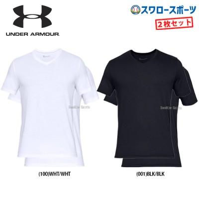アンダーアーマー UA ウェア Tシャツ チャージドコットン Vネック 2枚組 半袖 メンズ 1327429
